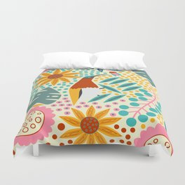 Floral paradise with a cute sunbird Duvet Cover