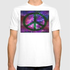 Peace symbol and infused colors MEDIUM White Mens Fitted Tee