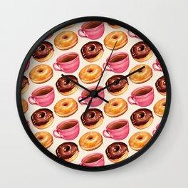 Coffee & Donuts Pattern Wall Clock