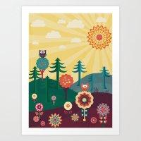 sunshine Art Prints featuring Sunshine by Kakel