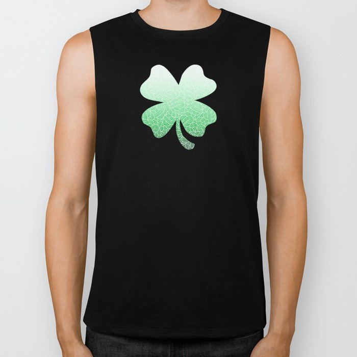 Ombre green and white swirls doodles Biker Tank