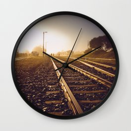 Railway Tracks at sunrise and twilight sky Wall Clock