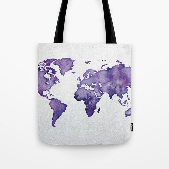 Purple World Map 01 Tote Bag