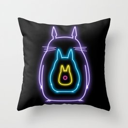 My Neon Neighbors  (Totoro) Throw Pillow