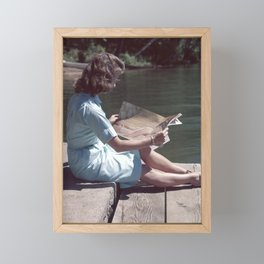 Woman Reading By The Lake (Vintage) Framed Mini Art Print