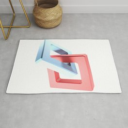 Abstract chain on white background - 3D rendering Rug