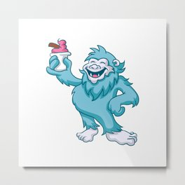 cartoon yeti eating ice cream Metal Print