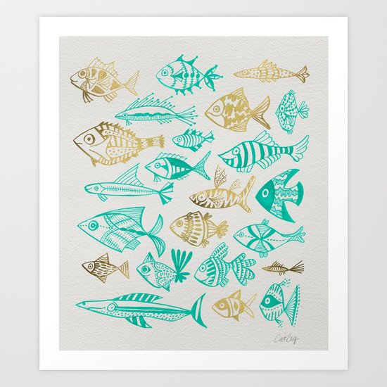 Inked Fish – Turquoise & Gold Art Print