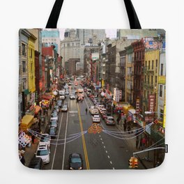 Busy Day in Chinatown, New York City Tote Bag