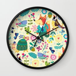 Fox and Bird Floral Pattern Wall Clock