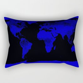 worlD Map Blue & Black Rectangular Pillow