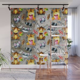 Woodland Animal Friends in forest -pattern for children Wall Mural