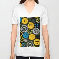 gears of war V-neck T-shirts featuring Happy Gears by WIGEGA