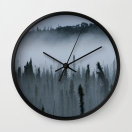 Forest Fog Above Tree Tops Wall Clock