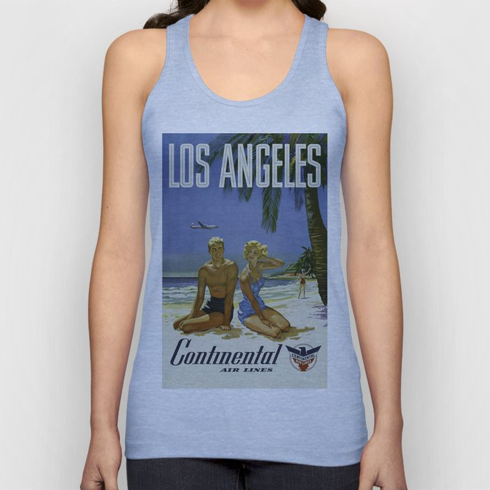 Los Angeles, Continental Air Lines - Vintage Poster Unisex Tank Top