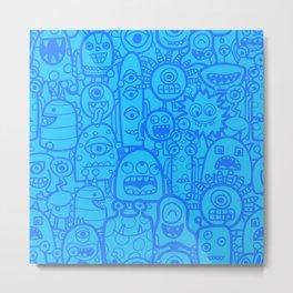 Cute Aliens Monsters Blue Boy Pattern Metal Print