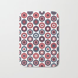 Buttons Cute Geometric Pattern in Red White and Blue Bath Mat