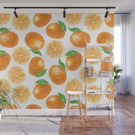 Watercolor tangerines Wall Mural