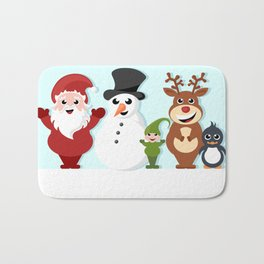 Christmas cartoon characters - Santa Claus, snowman, reindeer, elf and penguin Bath Mat
