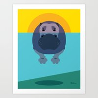 hippo Art Prints featuring Hippo by Steph Dillon