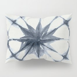 Shibori Starburst Indigo Blue on Lunar Gray Pillow Sham
