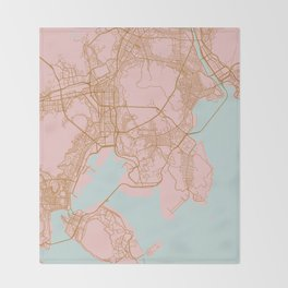 Busan map, South Korea Throw Blanket