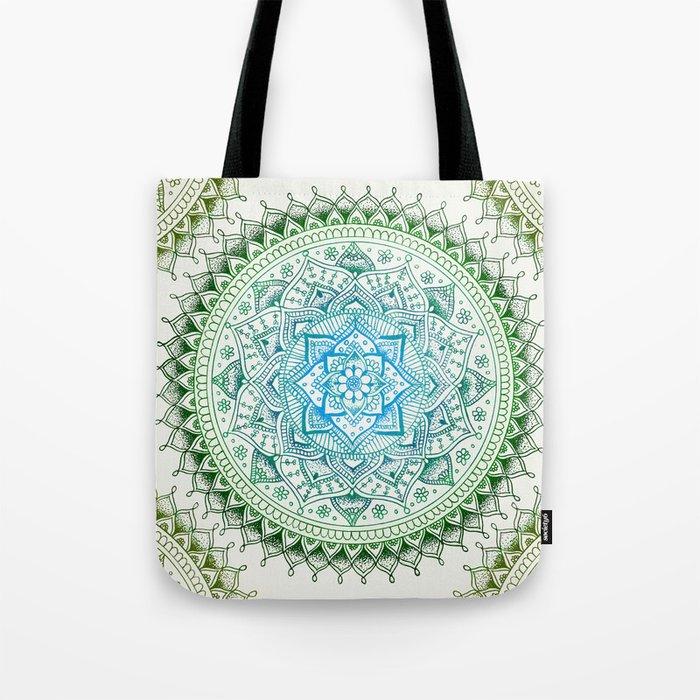 Forest Colours Flower Mandala Tote Bag