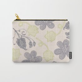 Modern vintage mint green ivory gray floral Carry-All Pouch