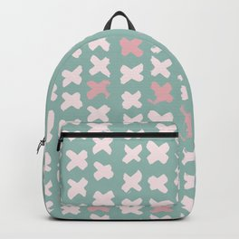 Contemporary X Paint Cross stich Mint Pink Pattern Backpack