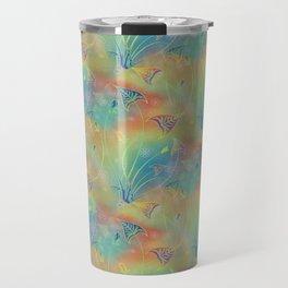 Rainbow Sparkles Leaves Flowers Travel Mug