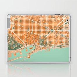 Barcelona city map orange Laptop & iPad Skin