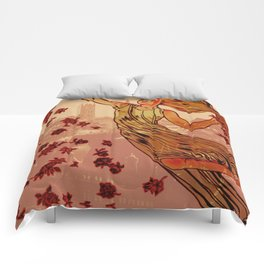 Vintage Made Modern: Belgium Woman Cityscape Spring May Flowers Comforters