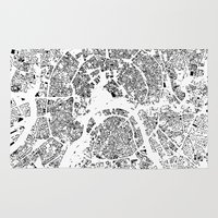moscow Area & Throw Rugs featuring Moscow Map Schwarzplan Only Buildings by City Art Posters
