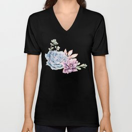 Pristine Succulents Blue and Pink Unisex V-Neck