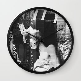 NYC Editorial Collage Black & White Wall Clock