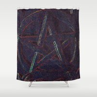 pentagram Shower Curtains featuring Cosmic Pentagram by Ishtar777