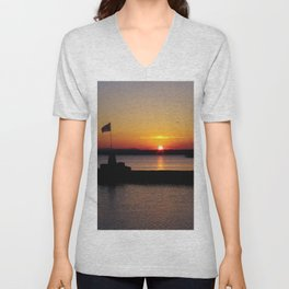A beautiful sunset view of Lough Neagh Unisex V-Neck