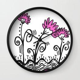 Three Spring Flowers - Pink Wall Clock