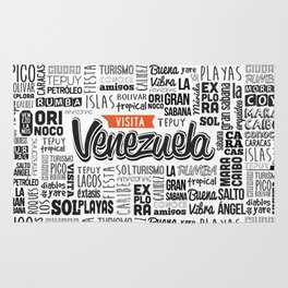 Venezuela Lettering Design - Black and white Rug