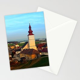 Village and church in warm sundown light   landscape photography Stationery Cards