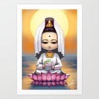 budi satria kwan Art Prints featuring Kwan Yin  by Lurraeh Somohano