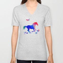 Rainbow horse Unisex V-Neck