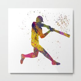 Baseball player isolated 02 in watercolor Metal Print