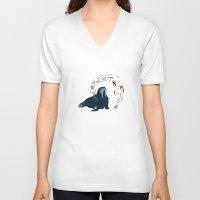 walrus V-neck T-shirts featuring Walrus. by Urška Hočevar