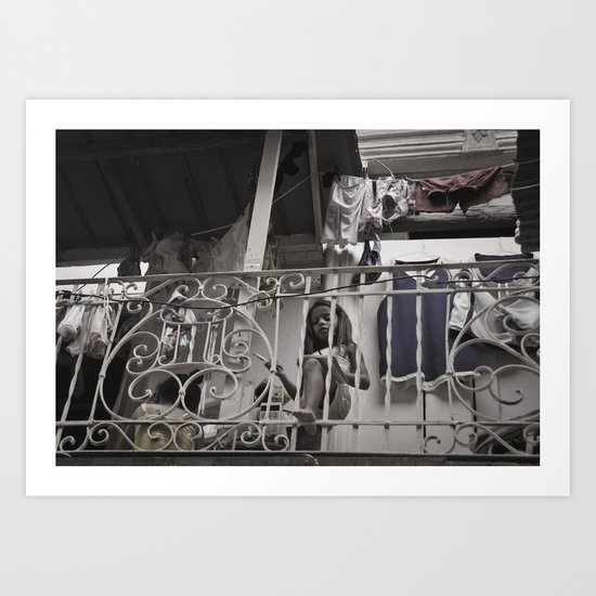 Girls playing in the balcony - Panamá  Art Print