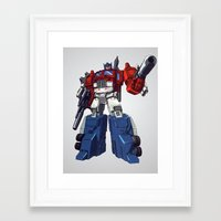 optimus prime Framed Art Prints featuring Optimus by CromMorc