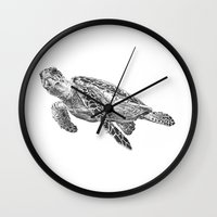 sea turtle Wall Clocks featuring Sea Turtle by Laura Hines