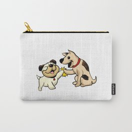 two dogs greeting Cartoon Illustration Carry-All Pouch