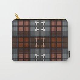 Dark black and blue plaid checkered Scandinavian design Carry-All Pouch