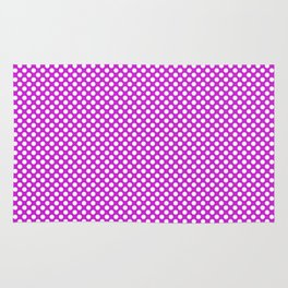 Dazzling Violet and White Polka Dots Rug